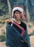 Akha Mother and Baby by John Rowland, Painting, Oil on Board