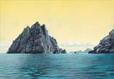 Approaching Boreray by John Rowland, Painting, Pastel