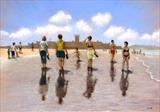 Carcavelos Reflections by John Rowland, Painting, Pastel on Paper