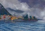 Clouds over Varenna by John Rowland, Painting, Pastel