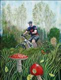Cycling in the Lake District by John Rowland, Painting, Oil on Board