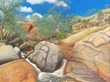 Darling Range Rock Pool by John Rowland, Painting, Pastel on Paper