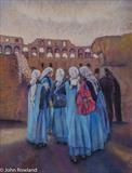 Five Sisters in Rome by John Rowland, Painting, Pastel