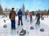 Impromptu Bonspiel by John Rowland, Painting, Pastel on Paper