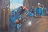 North Sea Welders by John Rowland, Painting, Pastel