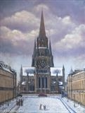 St Mary's Cathedral by John Rowland, Painting, Pastel & Ink