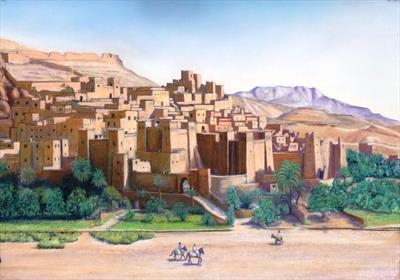 Ait Benahaddou by John Rowland, Painting, Pastel on Paper