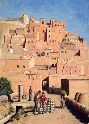 Ait Benahaddou Morning Chores by John Rowland, Painting, Pastel on Paper