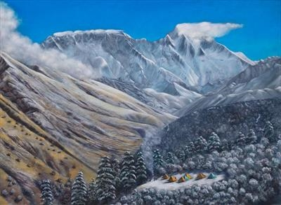 Everest Beckons by John Rowland, Painting, Pastel