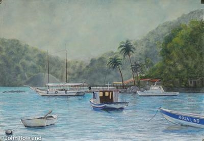 Ilha Grande Morning Light by John Rowland, Painting, Pastel on Paper