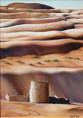 Liwa Watch Tower by John Rowland, Painting, Oil on Linen