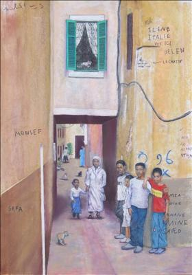 Marrakech Medina by John Rowland, Painting, Pastel on Paper
