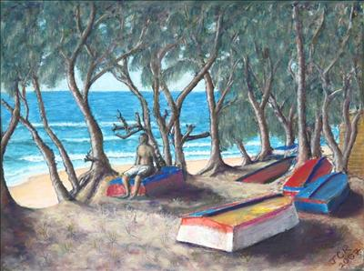 Tofu Beach by John Rowland, Painting, Pastel on Paper